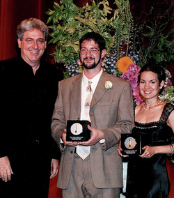 Accepting my Student Academy Award from Harold Ramis!