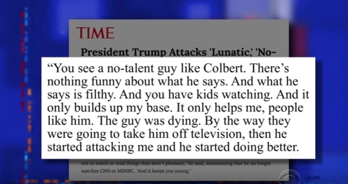 Trump disses Colbert ratings